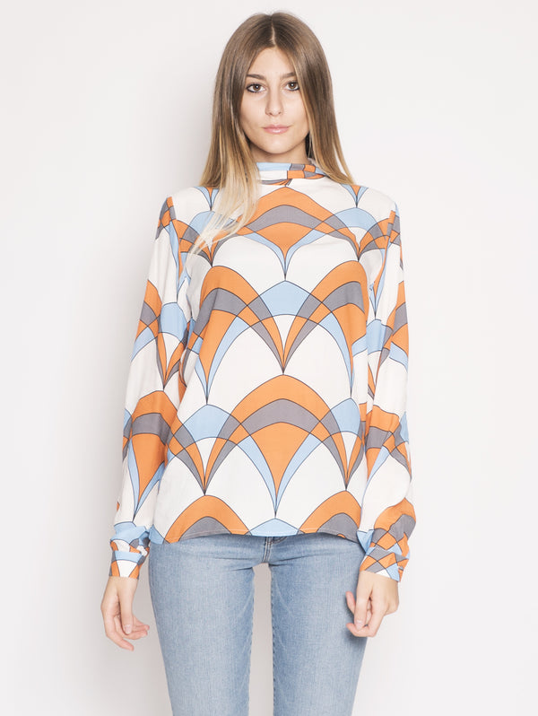 ESSENTIEL-Blusa con Stampa Retrò Multicolor-TRYME Shop