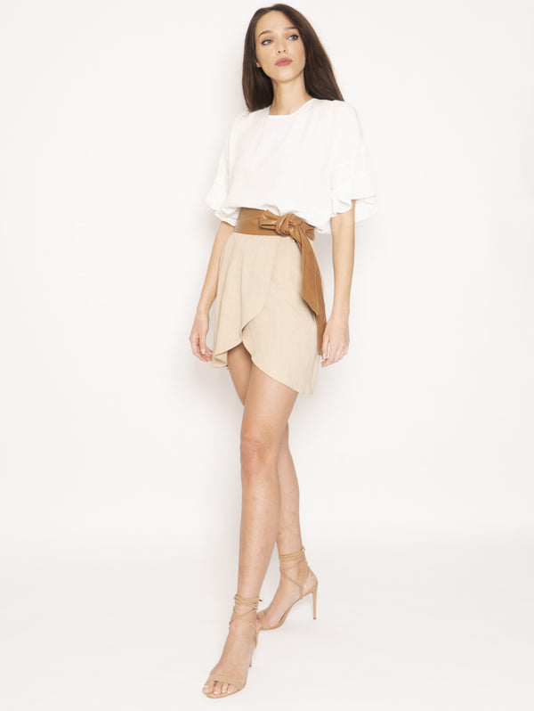 TWIN SET-Blusa in misto seta Bianco-TRYME Shop