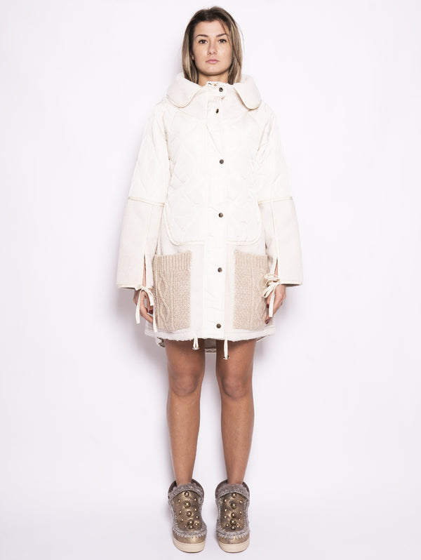 Parka in nylon e eco montone - TA82BQ Bianco-Jacket-TWIN SET-TRYME Shop