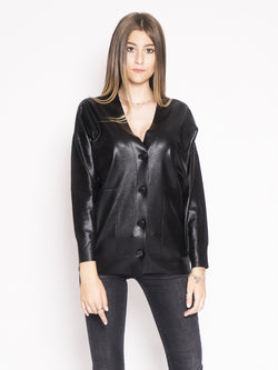 PINKO-Cardigan in Viscosa Sebbene Nero-TRYME Shop