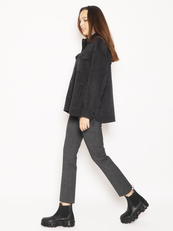 Wool overshirt with fringes - Grey