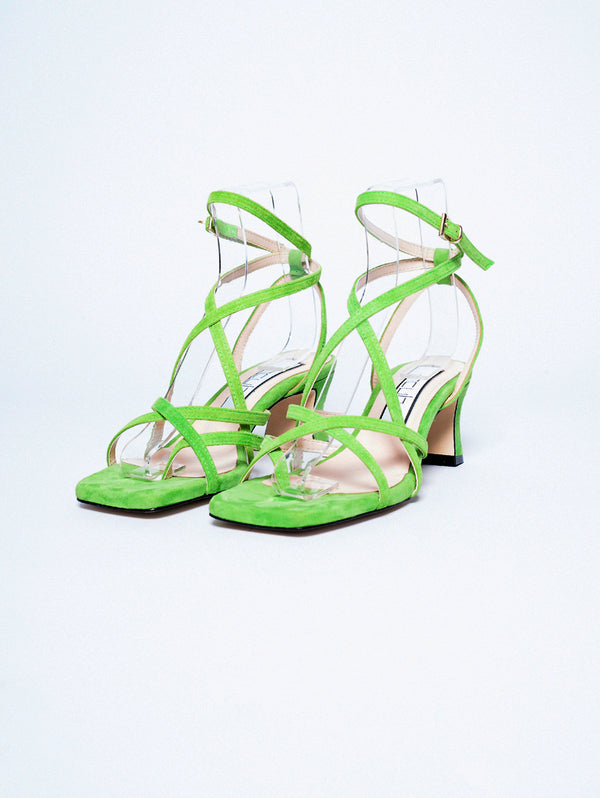 Acid Green Crossed Bands Sandals