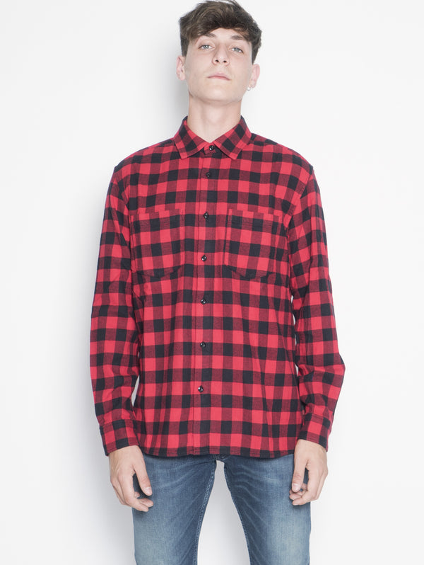 WOOLRICH-Camicia in Flanella Rosso-TRYME Shop