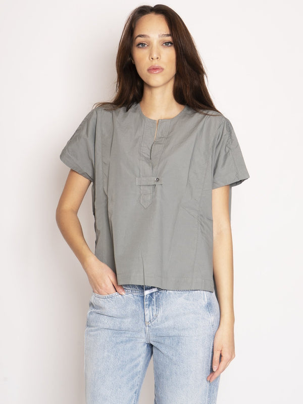 CLOSED-Blusa in Popeline di Cotone Verde-TRYME Shop