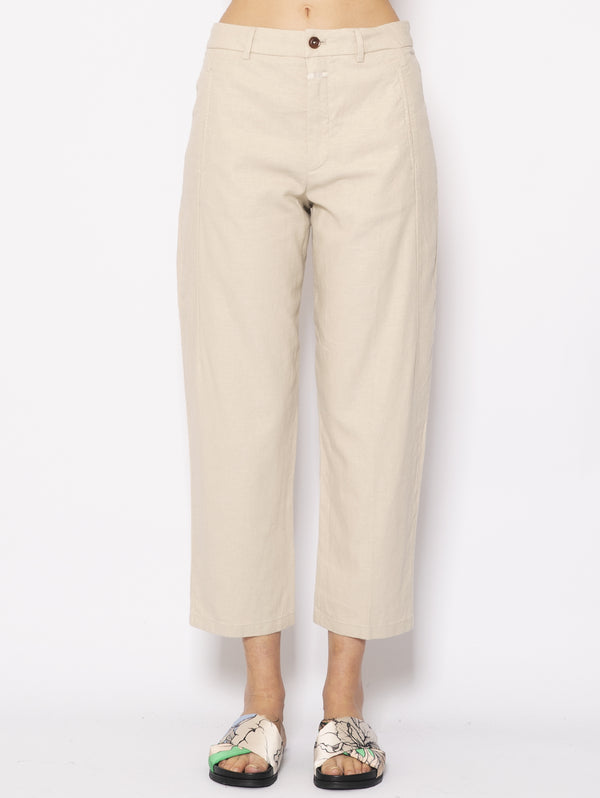 CLOSED-Pantaloni in Lino Beige-TRYME Shop