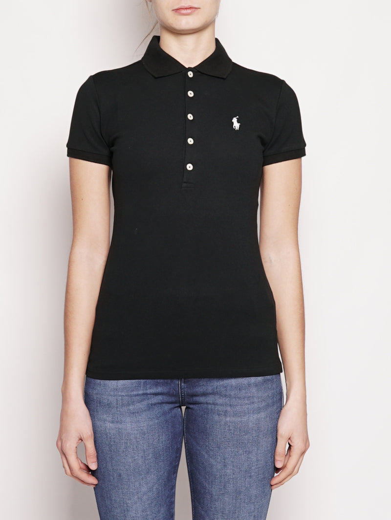 RALPH LAUREN-Polo Stretch Slim-Fit Nero-TRYME Shop
