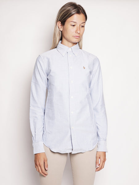 Camicia Oxford in cotone Custom-Fit Celeste