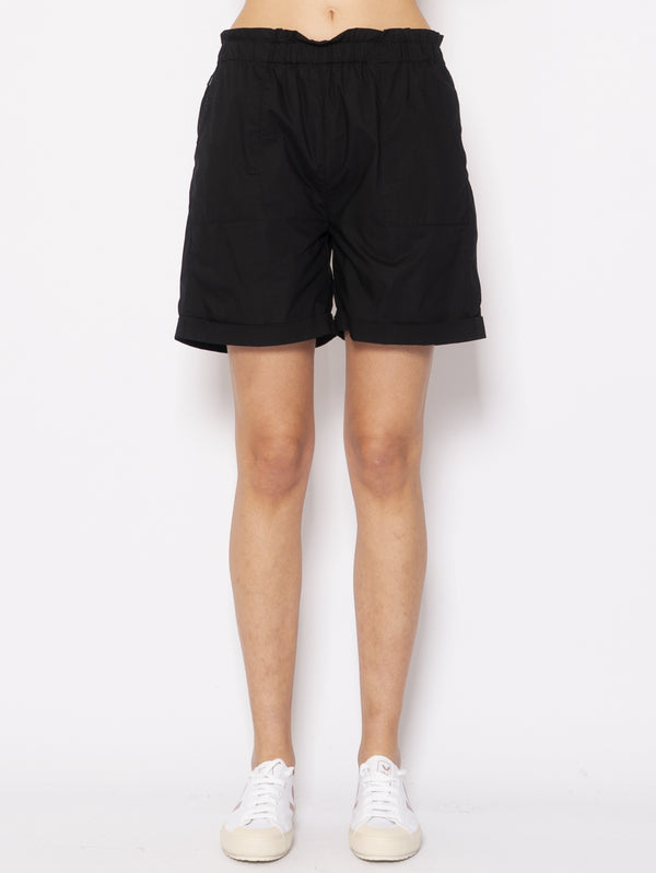 WOOLRICH-Shorts in Popeline Nero-TRYME Shop