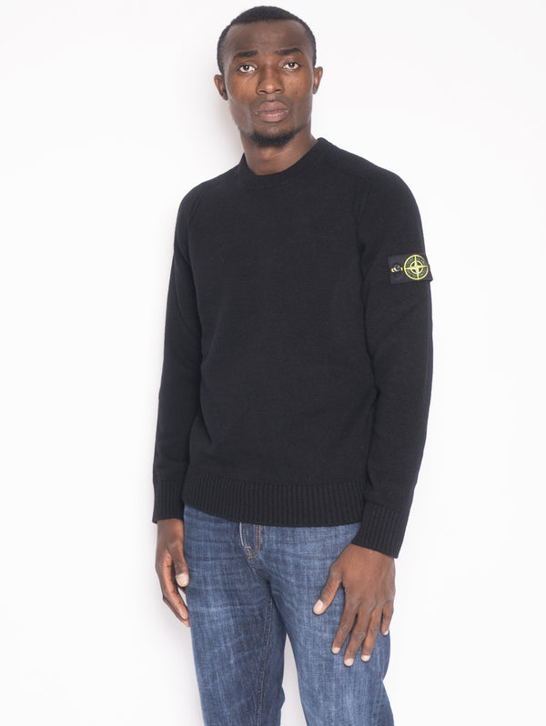 STONE ISLAND-Girocollo in lambswool 552A3 Nero-TRYME Shop