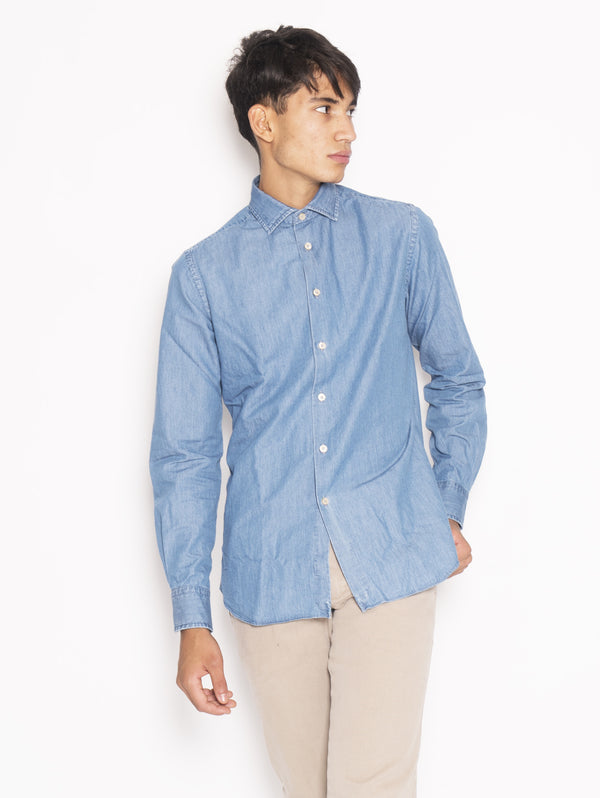 XACUS-Camicia in chambray - 748ML 51136 Blu-TRYME Shop