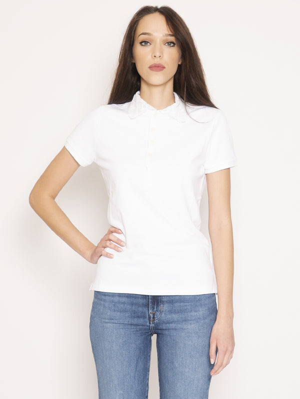 RALPH LAUREN-Polo Slim Fit con Pizzo Bianco-TRYME Shop