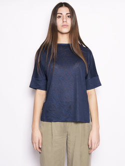 WOOLRICH-T-shirt in lino Blu-TRYME Shop