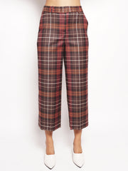 Pantalone check cropped Marrone