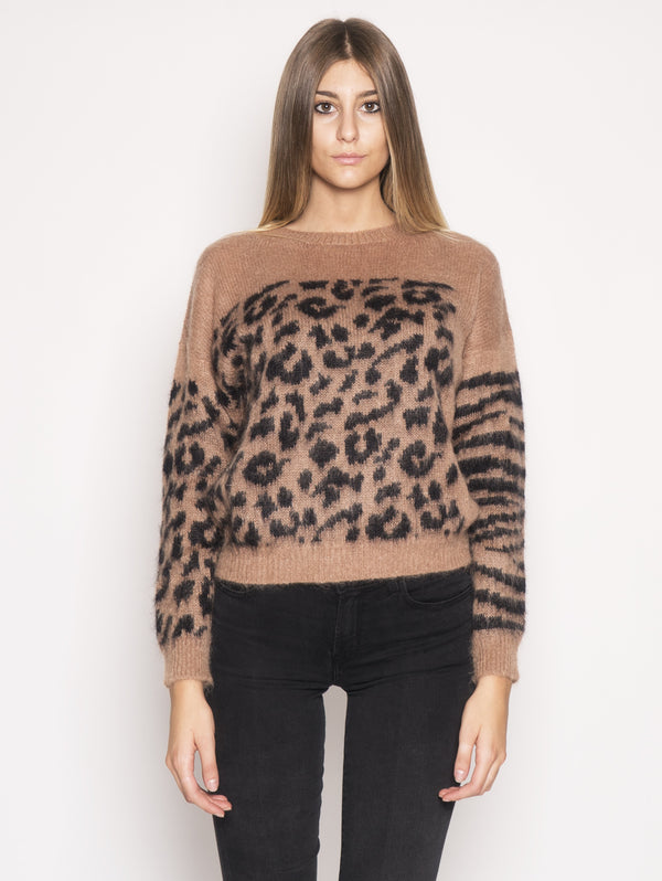 ESSENTIEL ANTWERP-Maglione con Fantasia Animalier Marrone-TRYME Shop