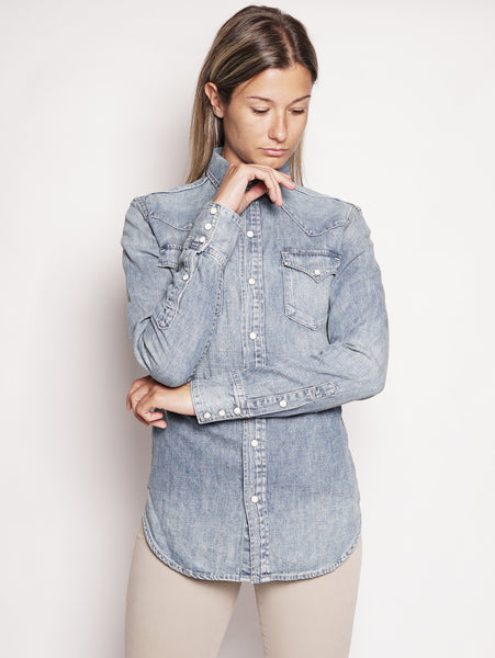 Camicia western in denim Indigo