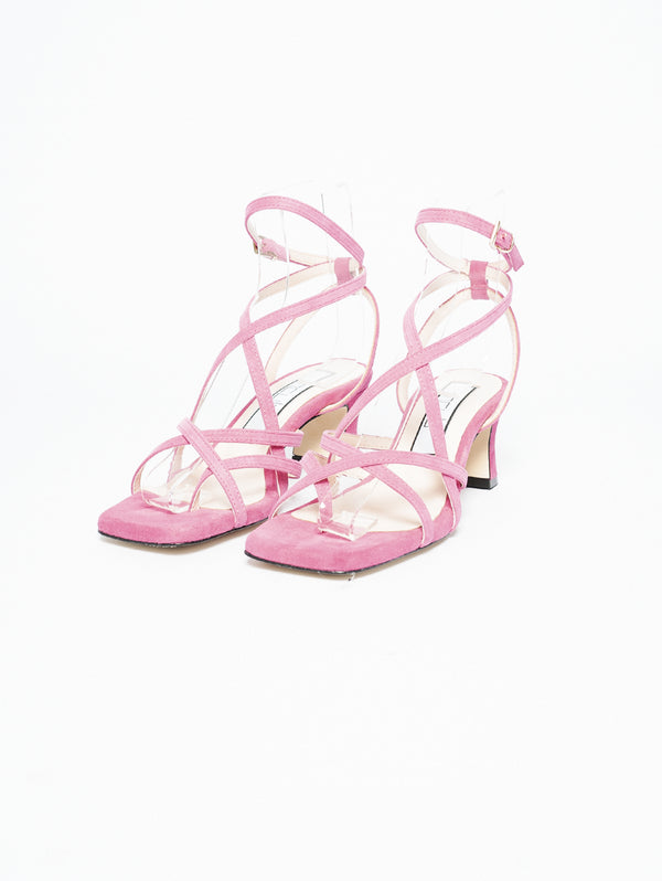 Sandals with Fuchsia Crossed Bands