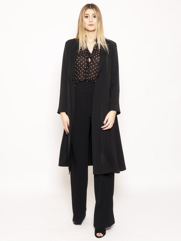 PINKO-Spolverino in Crepe Stretch Dotto 2 Nero-TRYME Shop