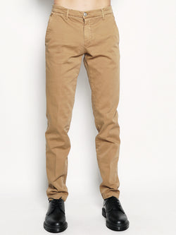 MANUEL RITZ-Pantalone chino stretch Ocra-TRYME Shop