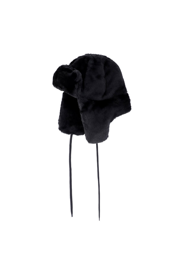 OOF-Cappello in eco fur - Nero-TRYME Shop