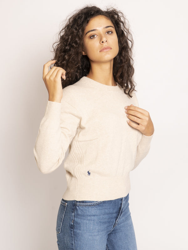 Crewneck sweater in cream wool and cashmere