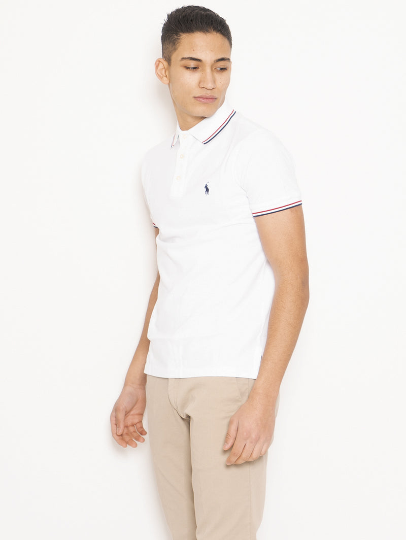 Polo in Cotone Custom Slim Fit Bianco