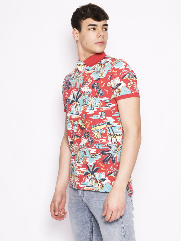 Polo Custom slim fit  'Caribbean floral' men Rosso multicolor