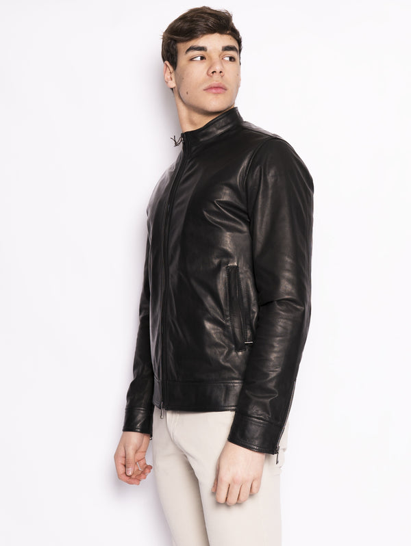 Biker in pelle Nero-Jacket-VOLFAGLI-TRYME Shop