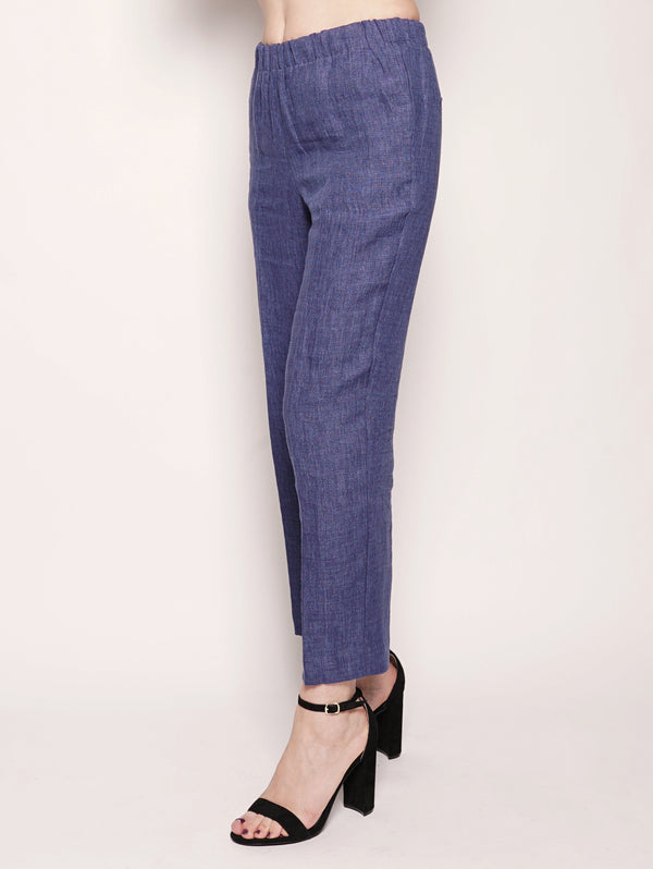 Pantalone Carrot in lino Blu Royal-Pantaloni-KILTIE-TRYME Shop