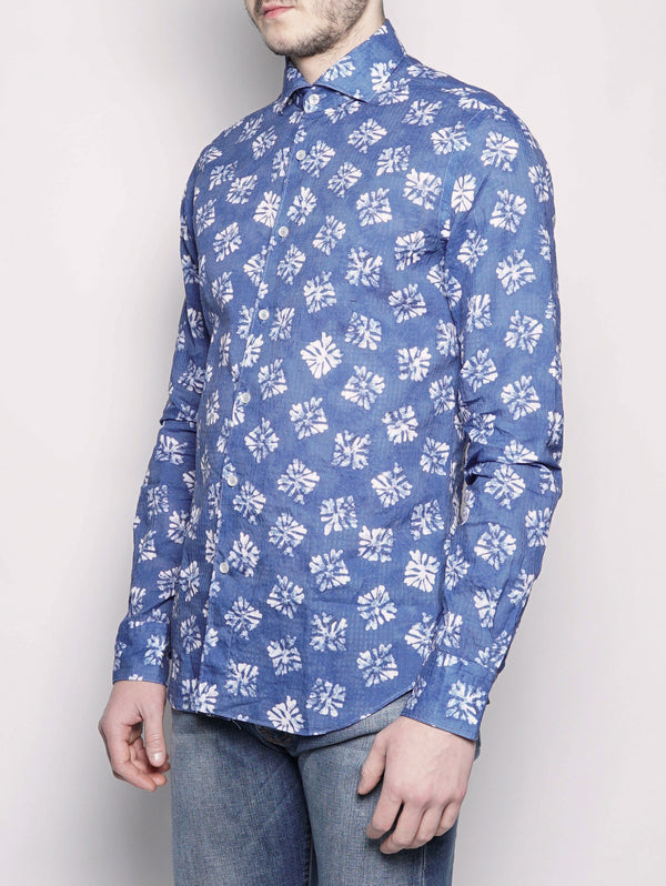 Camicia stampata 722ML 21543 Blu Royal-Camicie-XACUS-TRYME Shop