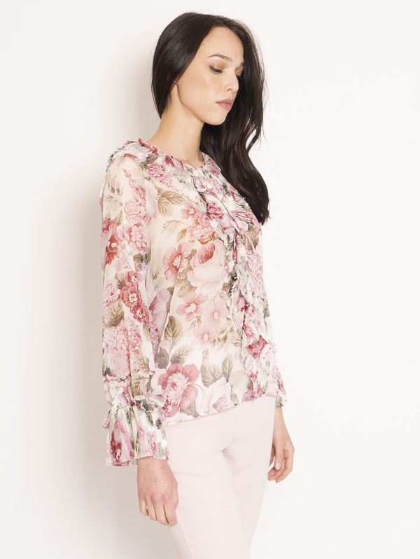 Blusa in Chiffon con Rouches Multicolor