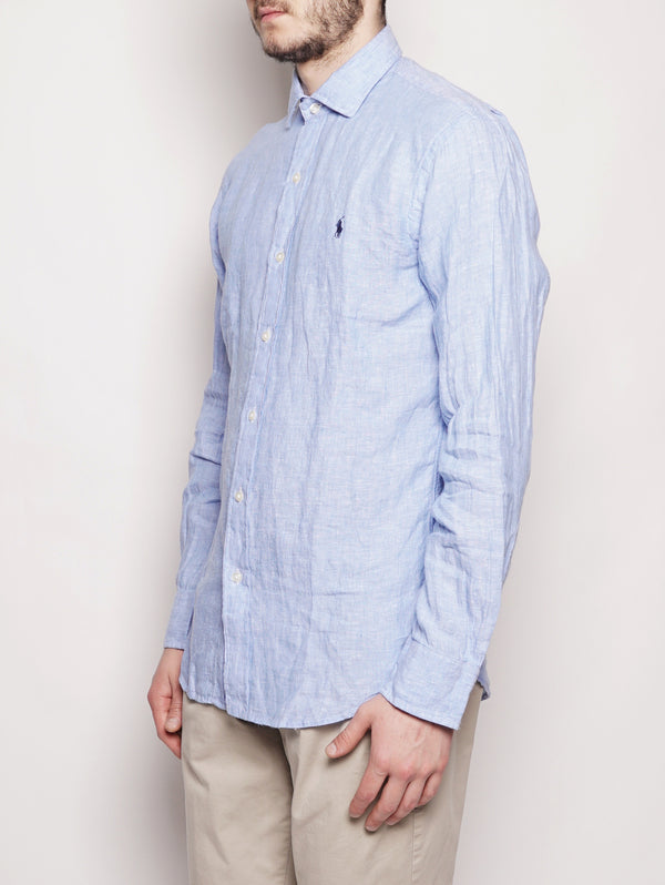 Camicia in lino Slim Fit Celeste-Camicie-RALPH LAUREN-TRYME Shop