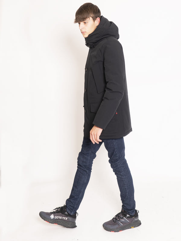 WOOLRICH-Giaccone Parka in Tessuto Tecnico Stretch - Nero-TRYME Shop