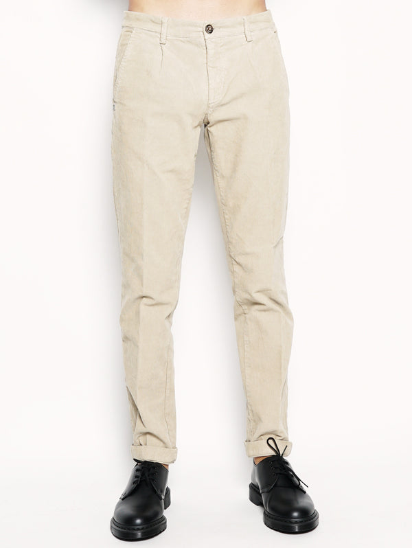 40WEFT-Alan - Pantalone chinos in velluto Beige-TRYME Shop