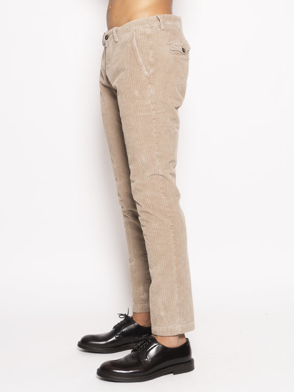 Pantaloni in velluto regular Beige