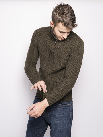 Alpha Studio Cardigan con zip Verde Oliva Trymeshop.it