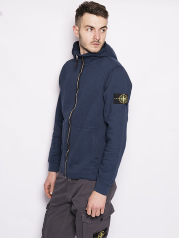 STONE ISLAND 64160 TINTO 'OLD' - Felpa full zip con cappuccio Blu Trymeshop.it