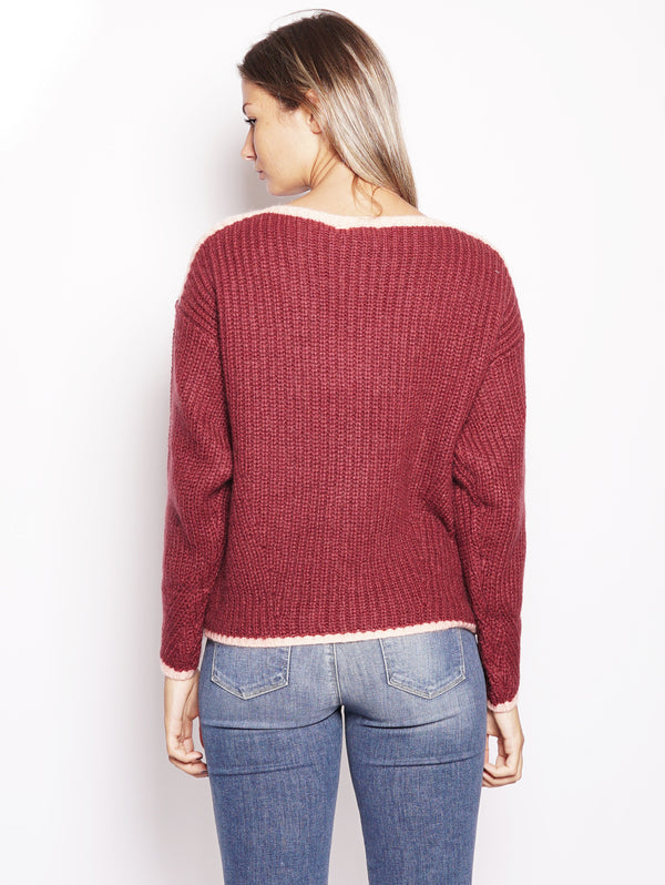 Maglia a coste - REGGAE Soft Sweater Bordeaux-Maglieria-ESSENTIEL-TRYME Shop