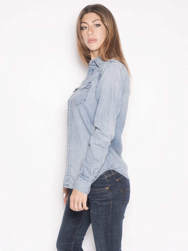 Camicia Western in Denim Blu