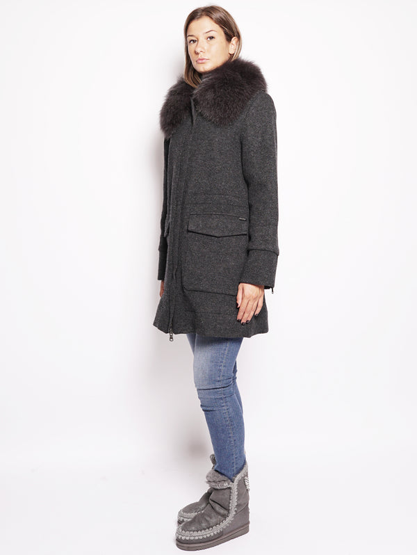 W's Wool Cotton Tra - Cappotto in lana con collo in volpe Grigio-Cappotto-WOOLRICH-TRYME Shop