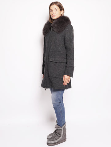 WOOLRICH W's Wool Cotton Tra - Cappotto in lana con collo in volpe Grigio Trymeshop.it