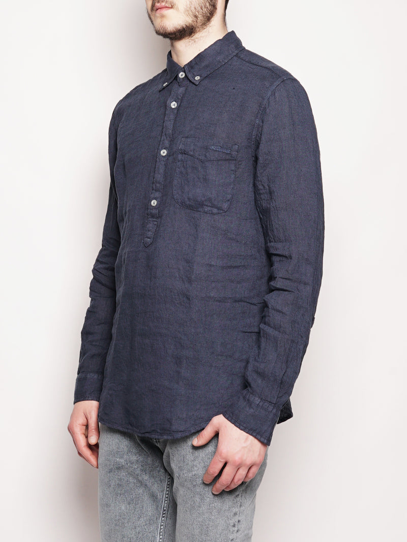 Camicia GORAN Lino Old Storm Blu-Camicie-ROY ROGERS-TRYME Shop