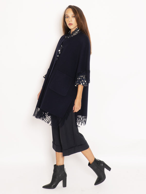 Cape with fringes - Blue