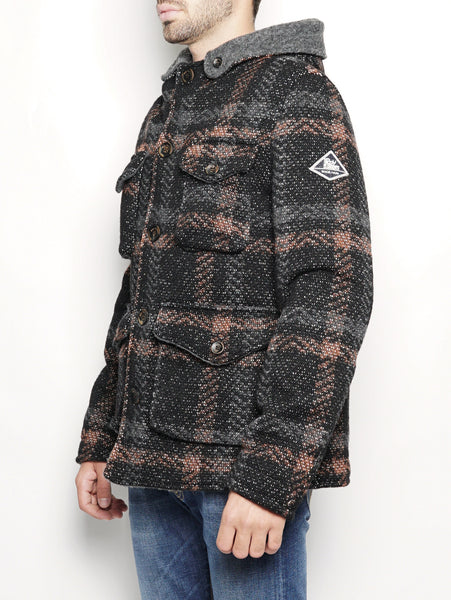ROY ROGERS Parka Wool check Nero Trymeshop.it