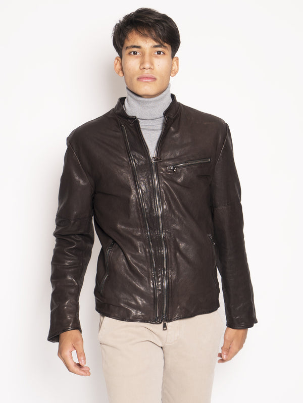 Brown padded leather biker