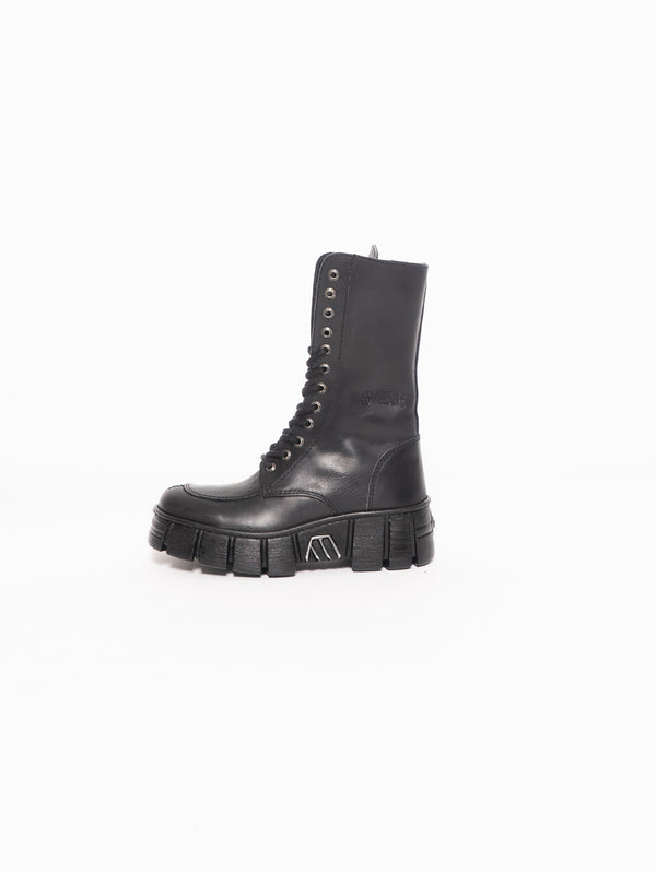 NEW ROCK-Stivale Alto con Carrarmato - Nero-TRYME Shop