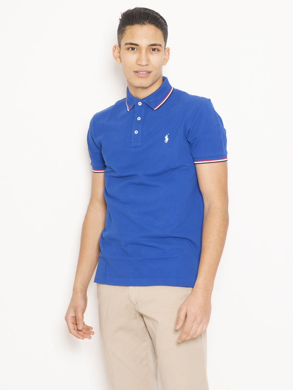Polo in Cotone Custom Slim Fit Blu