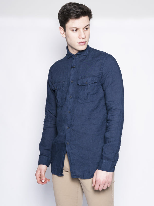 Camicia limited edition in lino Blu-Camicie-XACUS-TRYME Shop