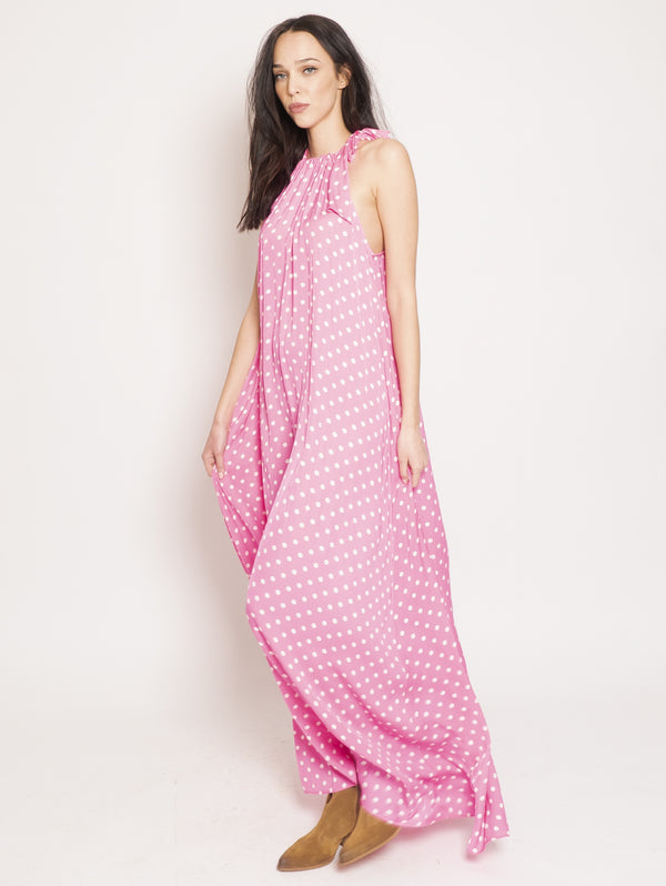 Polka Dot Dress with Fuchsia American Neckline
