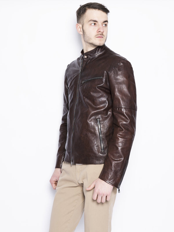 Chiodo in pelle con doppia zip Marrone-Jacket-VOLFAGLI-TRYME Shop