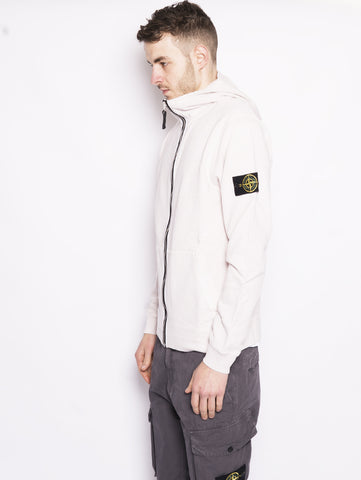 STONE ISLAND 64160 TINTO 'OLD' - Felpa full zip con cappuccio Panna Trymeshop.it